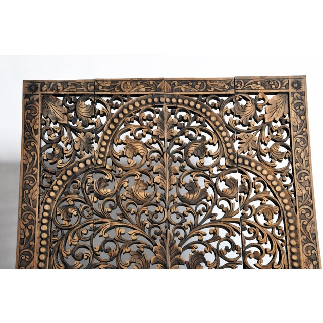 Southeast Asian Carved Teak Flower Panel For Sale - Image 4 of 13