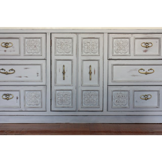 Carved Wood Detailed Gray Dresser - Image 10 of 11