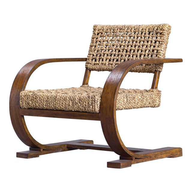 WOW! Is this beautiful, I love the scale of the arms, the color of the wood and the woven seat and back. A modern bohemian...