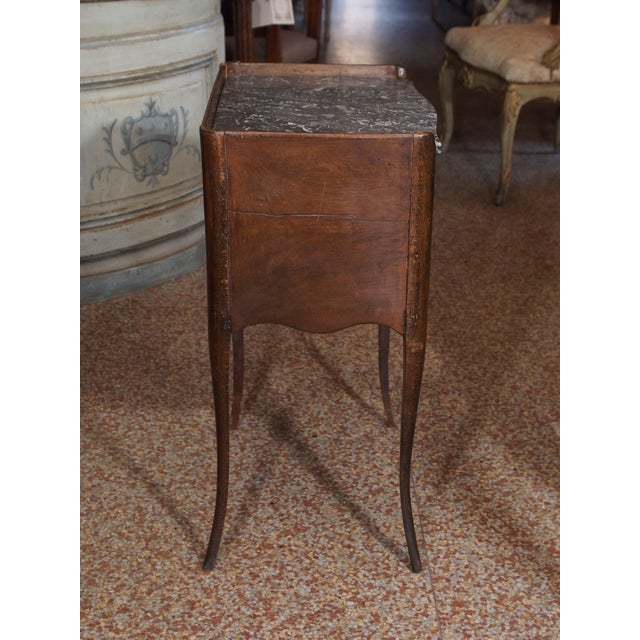 Gray 19th Century French Walnut and Marble Side Table For Sale - Image 8 of 9