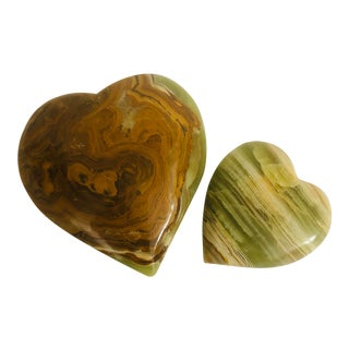 Onyx Heart Shaped Paperweights - a Pair For Sale