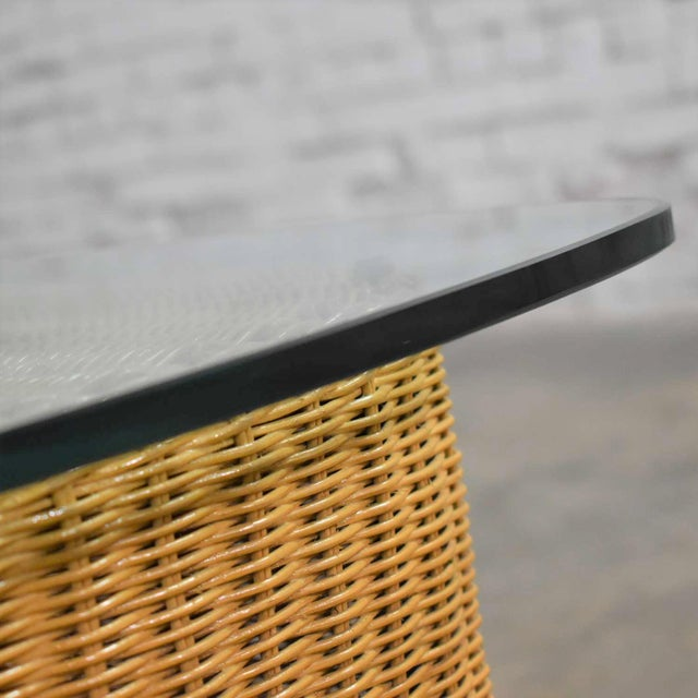 Rattan Wicker Organic Modern Side Table With Thick Glass Top For Sale - Image 10 of 13