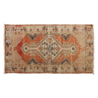 "Vintage Distressed Oushak Rug Runner - 2'8"" X 4'9"" For Sale"
