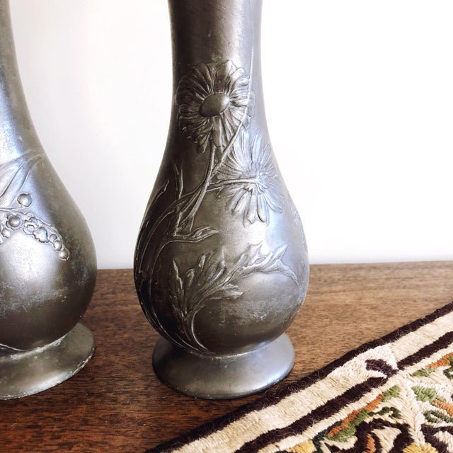 "Late 19th Century Antique Kayserzinn Art Nouveau Pewter Vases ""4077"" - a Pair For Sale - Image 5 of 8"