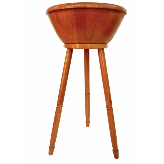 Mid-Century Danish Modern Teak Freestanding Salad Bowl Stand & Utensils - Image 3 of 9