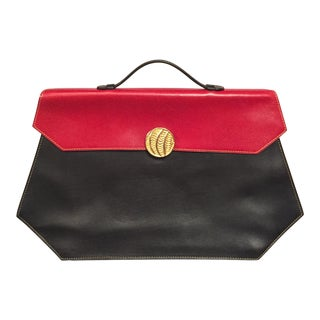 Isabel Canovas Red and Black Leather Handbag, Laptop Case or Briefcase For Sale