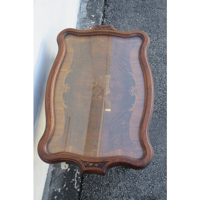 Early 1900s Hand Carved Violin Inlay Coffee Table With Serving Glass Tray For Sale - Image 10 of 12