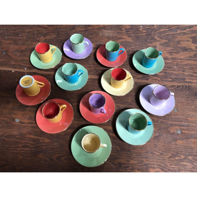 Multi-Colored Apilco Demitasse / Espresso Cups by Yves Deshoulieres, Made in France - Set of 12, 24 Pieces For Sale - Image 10 of 10