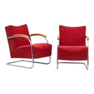 Mücke & Melder Fn 21 Art Deco Tubular Steel Cantilever Armchairs- A Pair For Sale