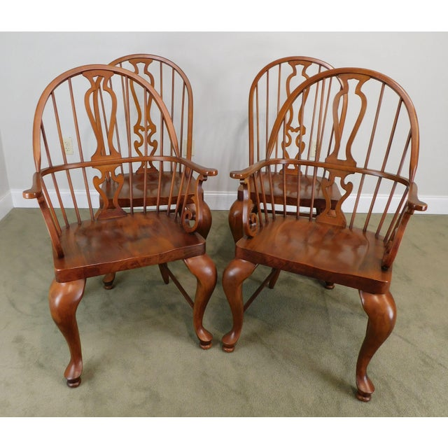 Traditional Bob Timberlake Lexington Furniture Set 4 Cherry Windsor Dining Chairs For Sale - Image 3 of 13