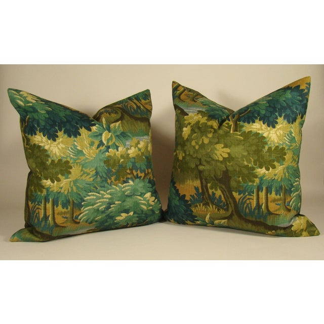 Olive Verdure Print Linen Large Pillow Cover For Sale - Image 8 of 10