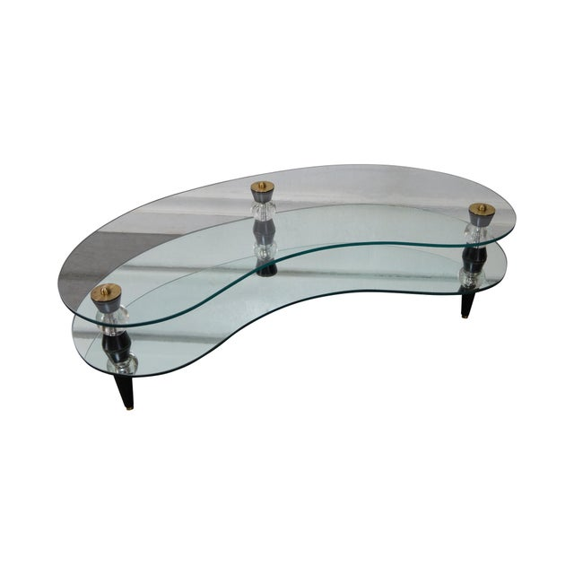 Semon Bache Hollywood Regency Kidney Shaped Mirrored Coffee Table - Image 1 of 10