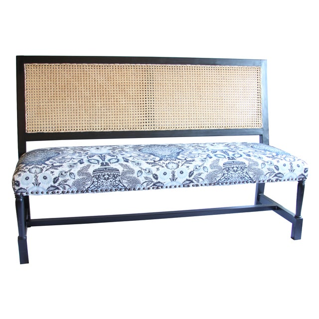 Noir Colonial Cane-Back Bench - Image 1 of 4