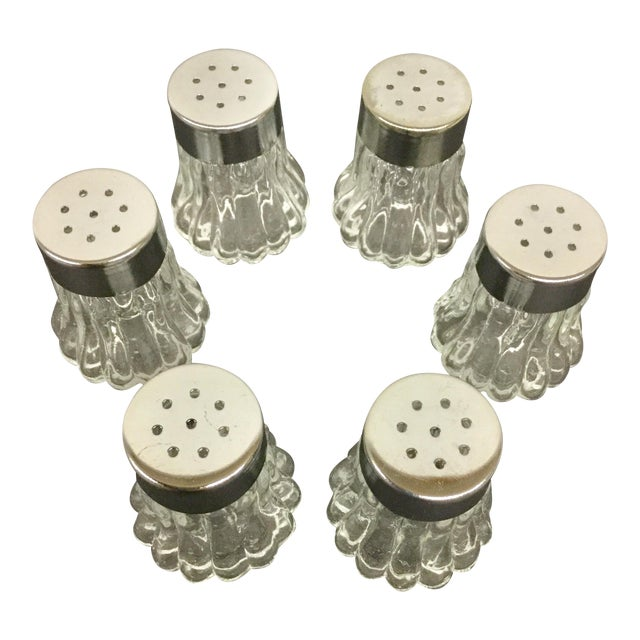 Mini Carved Glass Salt Shakers - Set of 6 For Sale