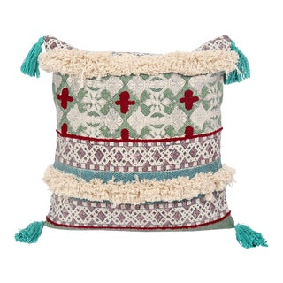 18x18 Inch Square Tribal Embroidered Tasseled Durable Geometric Cotton Pillow For Sale