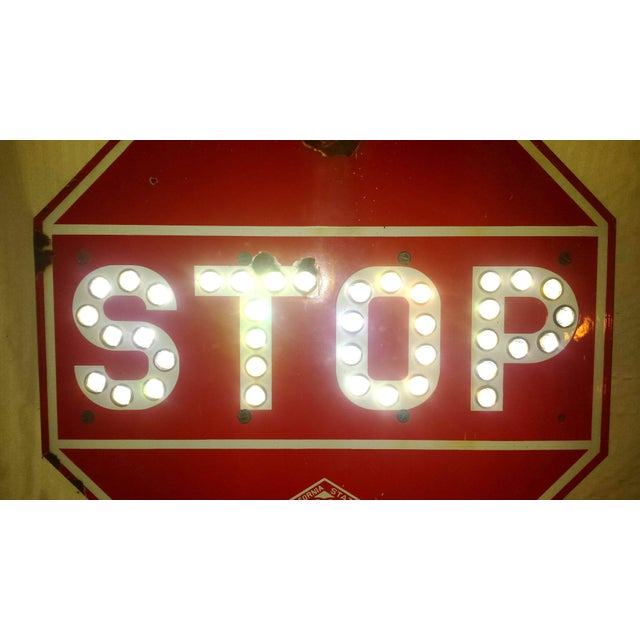 Vintage 1950 S Porcelain Stop Sign With Marble Reflectors