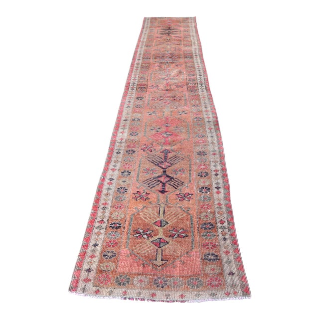 1960's Vintage Turkish Hand-Knotted Long Runner-2′9″ × 15′1″ For Sale