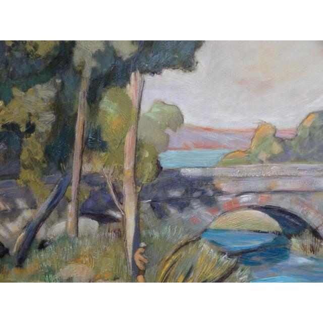 1930s Dan Burgess Landscape Painting With Bridge For Sale - Image 4 of 11