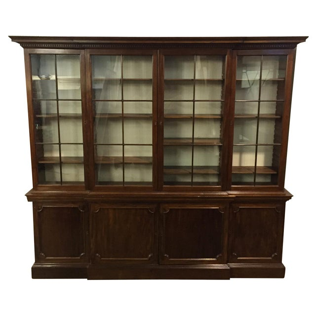 Brown 19th C. Vintage English Mahogany Breakfront For Sale - Image 8 of 8