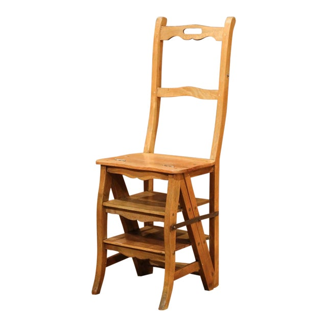 Early 20th Century French Carved Beech Folding Ladder Chair From Provence For Sale