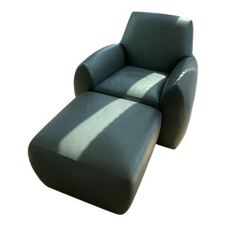 Ke-Zu Leather Chair and Ottoman For Sale