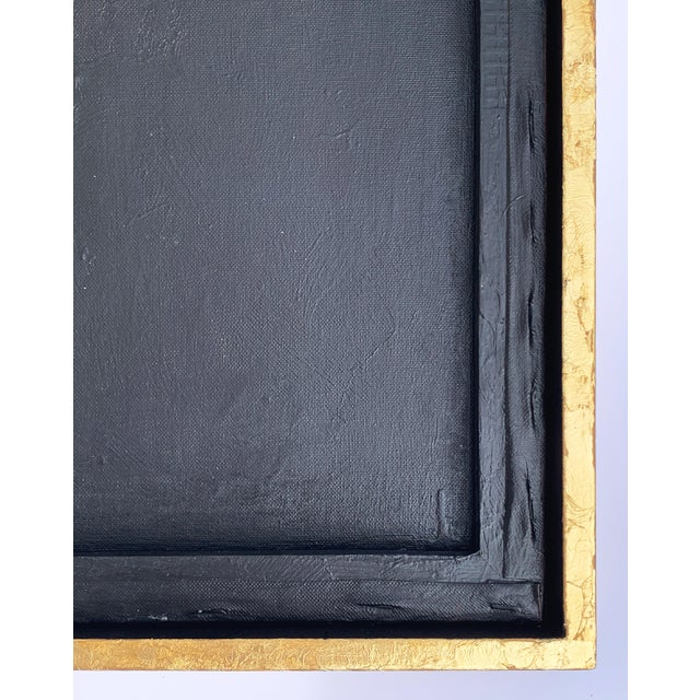 Black Minimal Abstract Black and Tan Framed Painting For Sale - Image 8 of 11