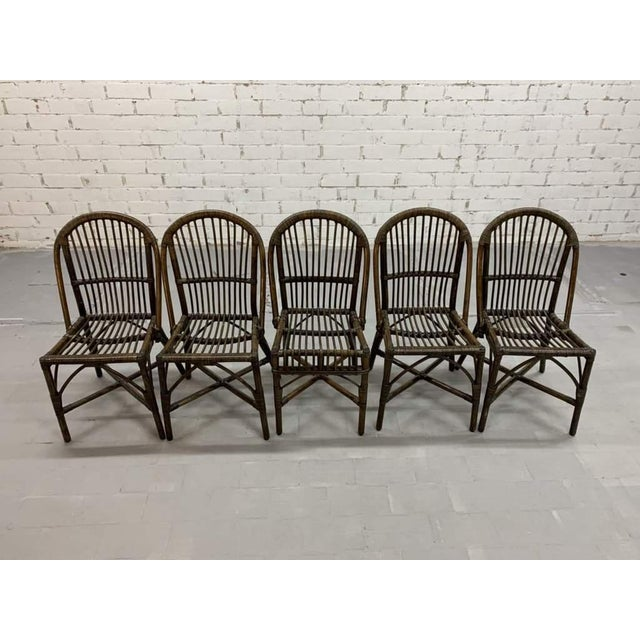 Set of 5 Italian Vintage Bamboo Patio Dining Chairs For Sale - Image 9 of 11
