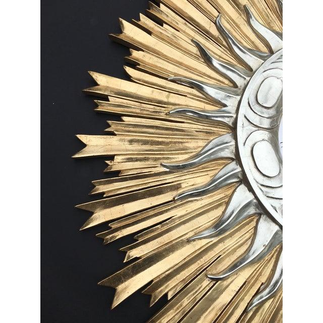 1960s Italian Hand Carved Sunburst Mirror For Sale - Image 5 of 7
