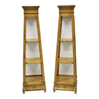 Burr Walnut Pyramid Obelisk Form Small Curio Display Pedestal Stands - a Pair For Sale