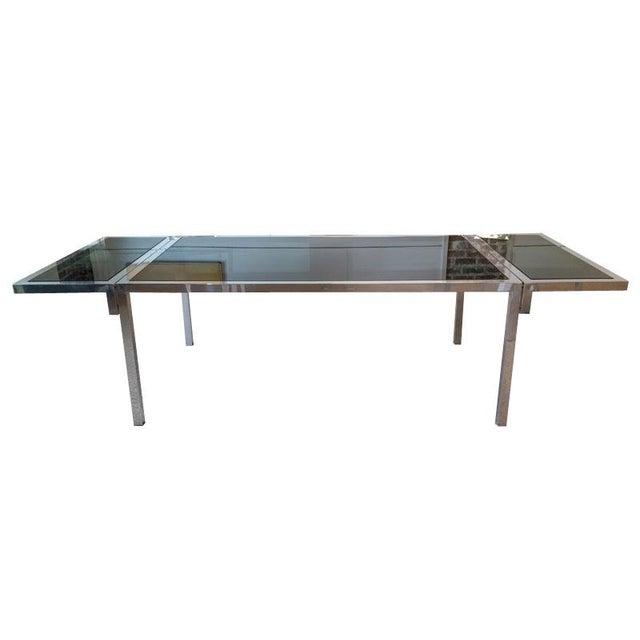 Vintage Aluminium & Smoked Glass Dining Table - Image 3 of 5