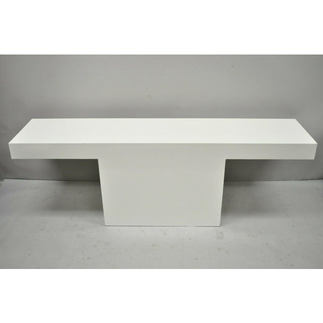 Vintage Mid Century Modern White Laminate Formica Console Table