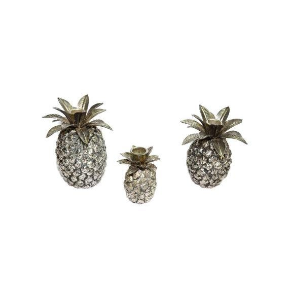Hollywood Regency Vintage Silver Pineapple Candle Holders - Set of 3 For Sale - Image 3 of 6