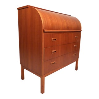 Swedish Modern Teak Roll-Top Desk by Egon Ostergaard For Sale