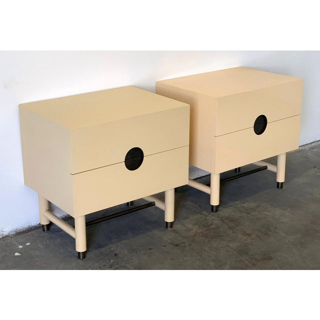 Modern Lawson Fenning Niguel Brass and Lacquered Nightstands - a Pair For Sale - Image 3 of 12
