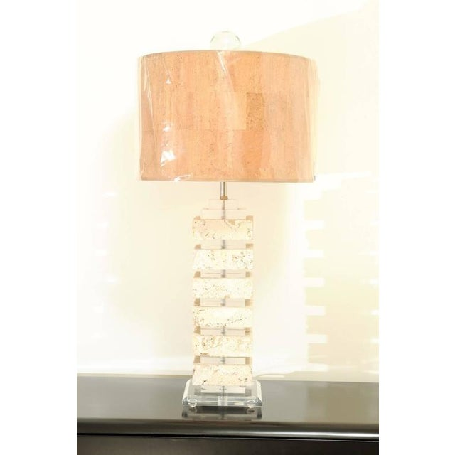 Transparent Restored Pair of Vintage Limestone and Lucite Lamps with Blown Glass Finials For Sale - Image 8 of 9