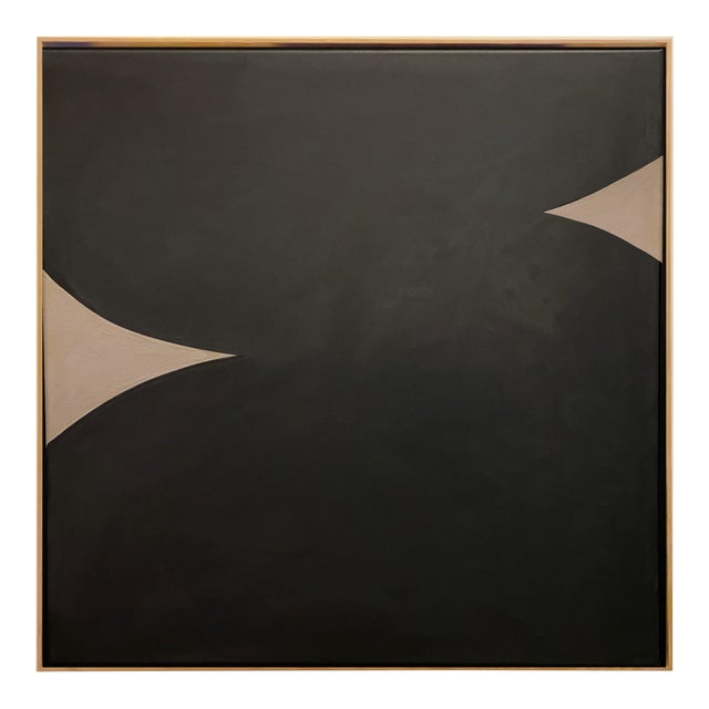 Contemporary Minimalist Monochromatic Acrylic Gouache Painting by Brooks Burns, Framed For Sale