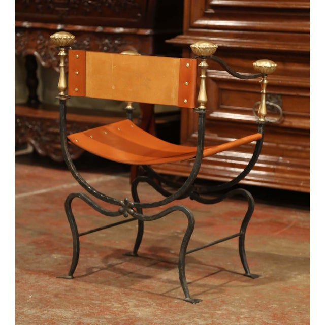 Animal Skin 19th Century Italian Wrought Iron, Bronze and Tan Leather Campaign Armchair For Sale - Image 7 of 9