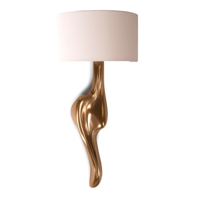 Contemporary Amorph Oralee Sconce, Gold Finish With Ivory Silk Shade For Sale - Image 3 of 9