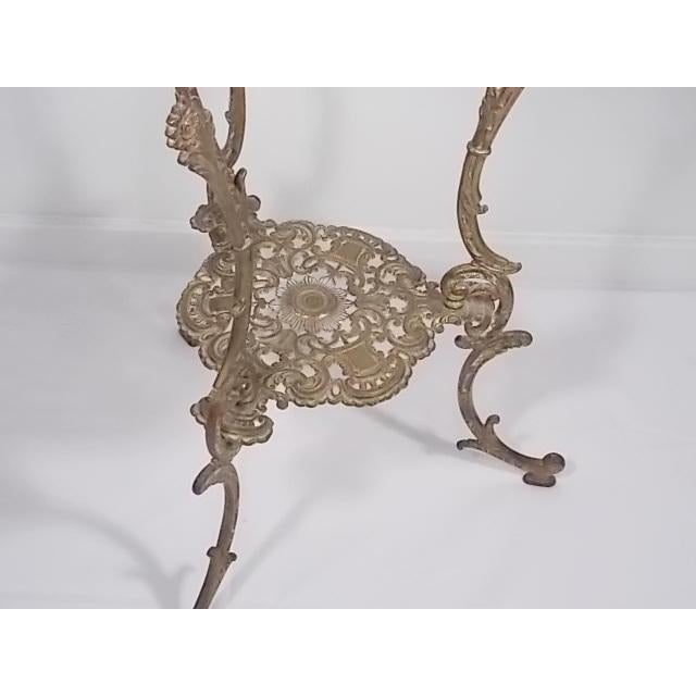 Mediterranean Vintage Victorian Style Brass & Marble Top Filigree Stand For Sale - Image 3 of 10