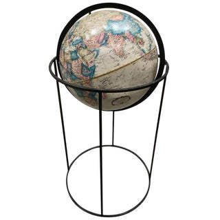 Midcentury Globe With Bronze Stand, Manner of Paul McCobb