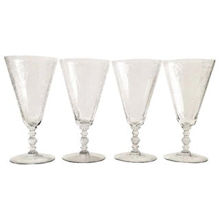 Mid 20th Century Art Deco Etched Crystal Stem Glasses - Set of 4 For Sale