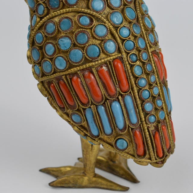 Nepalese Brass Owl Figurine With Turquoise and Coral For Sale - Image 9 of 13