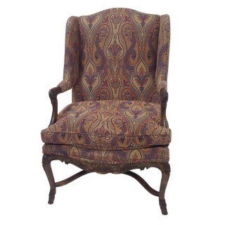 Country French Lounge Chair With Tapestry For Sale