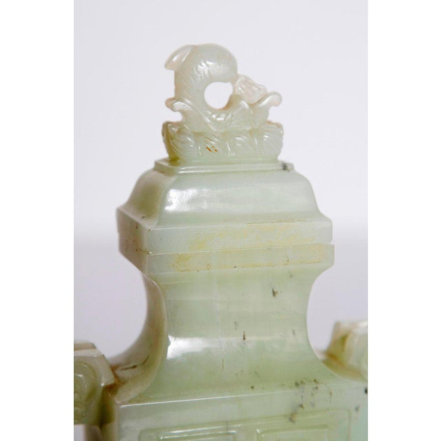 Late 19th / Early 20th Century Pale Celadon Jade Vase & Cover, China, Qing Dynasty For Sale - Image 9 of 13