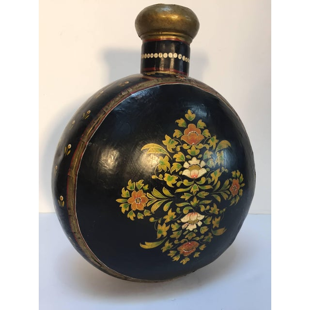 Hand-Hammered Anglo Raj Copper Black Hand-Painted Vessel Jug For Sale - Image 10 of 10