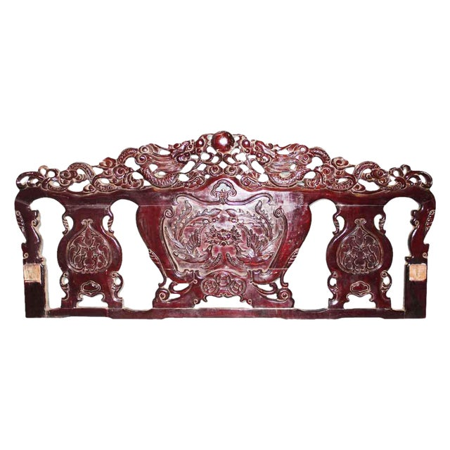 Carved Burgandy Wood Head Board For Sale