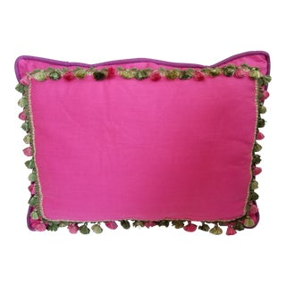 Big Pink Linen Pillow With Green and Purple For Sale
