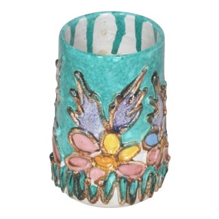Majolica Italian Pottery Floral Vase For Sale