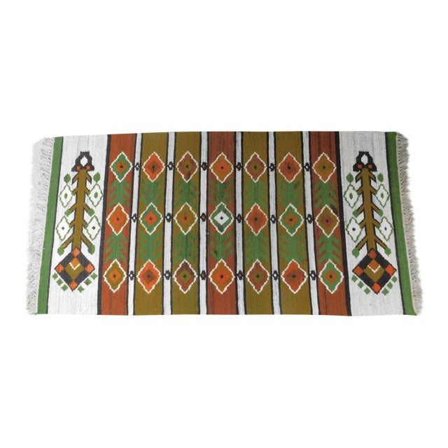 Handmade Area Rug Tapestry - 3′3″ × 6′9″ For Sale