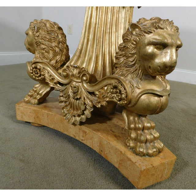 Neo-Classical Style Gilt Lion Carved Center table Round, Mosaic Tessellated Stone top For Sale In Philadelphia - Image 6 of 13